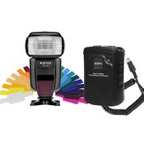 Gloxy GX-F1000 TTL HSS Flash + Gloxy GX-EX2500 External Battery