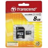 Transcend 8GB MicroSDHC Card Class 4 + Adapter