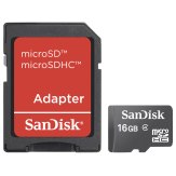 Sandisk 16GB MicroSDHC Card + Adapter