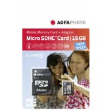 AgfaPhoto MicroSDHC Mobile High Speed 16 GB Class 10 + Adapter Flash Memory Card