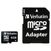 Verbatim MicroSDHC card 8GB Class 10 + adapter